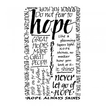 Crafty Individuals CI-020 - 'Hope Calligraphy' Art Rubber Stamp, 52mm x 85mm