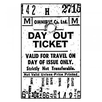 Crafty Individuals CI-022 - 'Day Out Ticket' Art Rubber Stamp, 50mm x 80mm