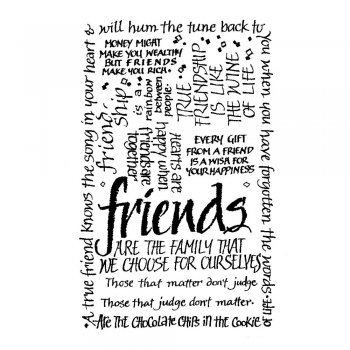Crafty Individuals CI-052 - 'Friends Calligraphy' Art Rubber Stamp, 55mm x 85mm