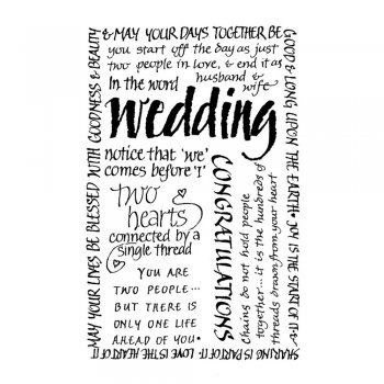 Crafty Individuals CI-054 - 'Wedding Calligraphy' Art Rubber Stamp, 50mm x 80mm