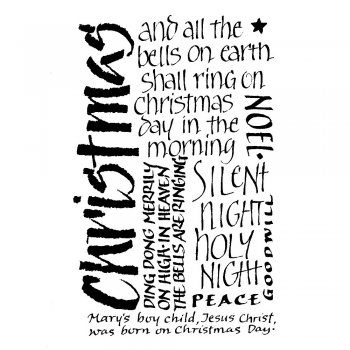 Crafty Individuals CI-058 - 'Christmas Calligraphy' Art Rubber Stamp, 50mm x 80mm