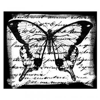 Crafty Individuals CI-061 - 'Butterfly Script' Art Rubber Stamp, 65mm x 55mm