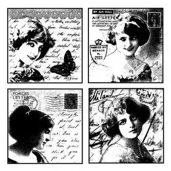 Crafty Individuals CI-065 - 'Love Letter Ladies' Art Rubber Stamp, 85mm x 85mm