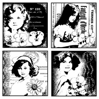 Crafty Individuals CI-131 - 'Four Pretty Young Girls' Art Rubber Stamp, 85mm x 85mm