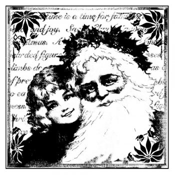 Crafty Individuals CI-136 - 'Christmas Santa Smiles' Art Rubber Stamp, 70mm x 70mm