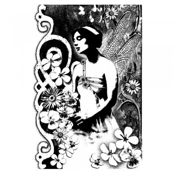 Crafty Individuals CI-137 - 'Fairy Garden 2' Art Rubber Stamp, 65mm x 95mm