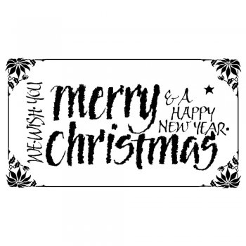 Crafty Individuals CI-142 - 'Merry Christmas Calligraphy' Art Rubber Stamp, 70mm x 40mm