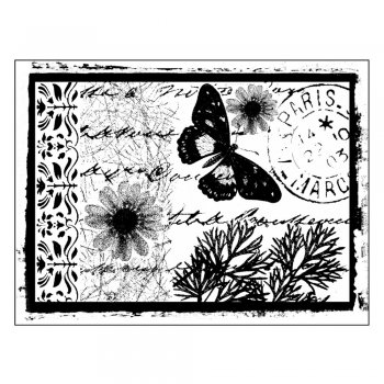 Crafty Individuals CI-151 - 'Parisian Butterfly' Art Rubber Stamp, 90mm x 67mm