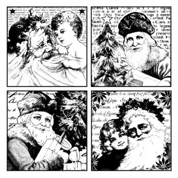 Crafty Individuals CI-162 - 'Four Jolly Santas' Art Rubber Stamp, 85mm x 85mm