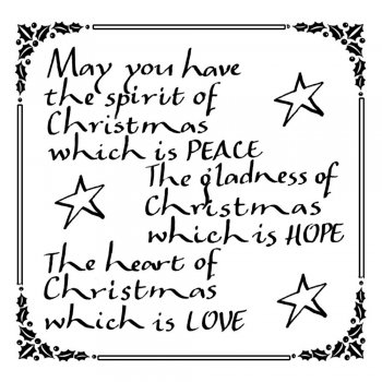 Crafty Individuals CI-167 - 'Spirit of Christmas Calligraphy' Art Rubber Stamp, 70mm x 70mm