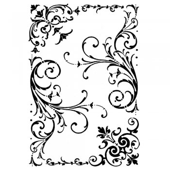 Crafty Individuals CI-173 - 'Elegant Swirls and Corners' Art Rubber Stamp, 63mm x 90mm
