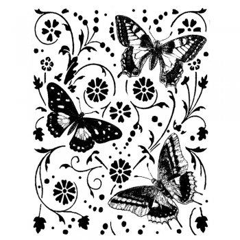 Crafty Individuals CI-175 - 'Butterfly Garden' Art Rubber Stamp, 80mm x 100mm