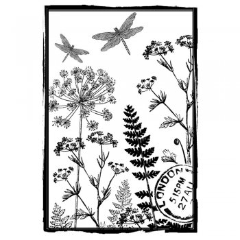 Crafty Individuals CI-176 - 'Dancing Dragonflies' Art Rubber Stamp, 65mm x 95mm
