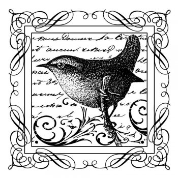 Crafty Individuals CI-183 - 'Little Jenny Wren' Art Rubber Stamp, 70mm x 70mm