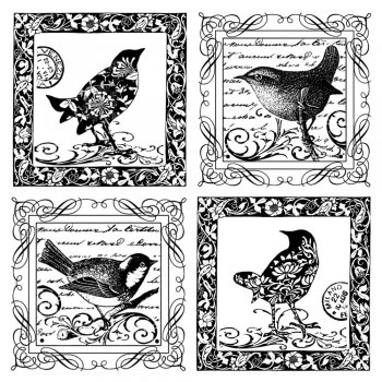 Crafty Individuals CI-184 - 'Four Little Songbirds' Art Rubber Stamp, 85mm x 85mm