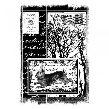 Crafty Individuals CI-202 - 'Hare Amongst the Trees' Art Rubber Stamp, 60mm x 85mm