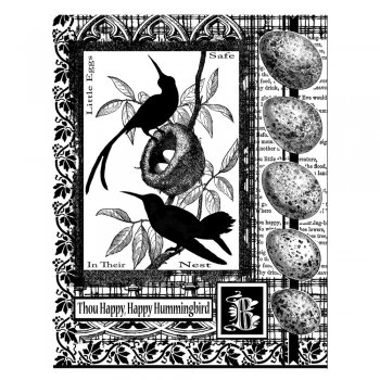 Crafty Individuals CI-205 - 'Hummingbird Collage' Art Rubber Stamp, 70mm x 90mm