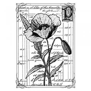Crafty Individuals CI-210 - 'Pretty Poppy' Art Rubber Stamp, 60mm x 85mm