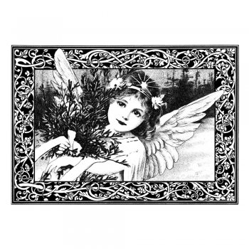 CI-211 - 'An Adorable Christmas Angel' Art Rubber Stamp, 85mm x 60mm
