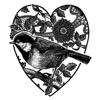 Crafty Individuals CI-220 - 'Heartfelt Bird' Art Rubber Stamp, 75mm x 85mm