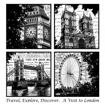 Crafty Individuals CI-221 - 'Four London Views' Art Rubber Stamp, 85mm x 90mm