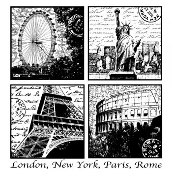 CI-228 - 'Iconic World Views' Art Rubber Stamp, 85mm x 90mm