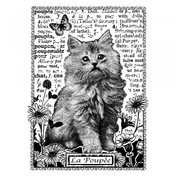 Crafty Individuals CI-229 - 'Kitten Amongst Flowers' Art Rubber Stamp, 60mm x 85mm