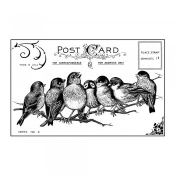 Crafty Individuals CI-230 - 'Seven Cheeky Songbirds' Art Rubber Stamp, 85mm x 55mm