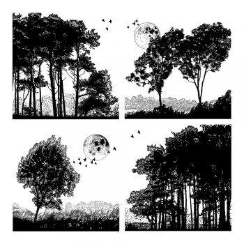 Crafty Individuals CI-259 - 'Four Tree Landscapes' Art Rubber Stamp, 90mm x 90mm