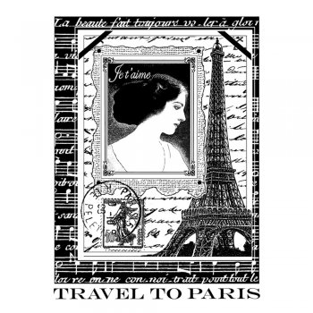Crafty Individuals CI-260 - 'Parisian Romance' Art Rubber Stamp, 70mm x 95mm