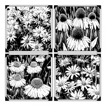 Crafty Individuals CI-262 - 'Four Delightful Daisies' Art Rubber Stamp, 85mm x 85mm