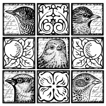Crafty Individuals CI-266 - 'Boxy Birds' Art Rubber Stamp, 82mm x 82mm