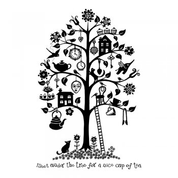 Crafty Individuals CI-267 - 'Tea Tree' Art Rubber Stamp, 65mm x 100mm
