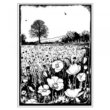 Crafty Individuals CI-276 - 'Summer Poppy Meadow' Art Rubber Stamp, 70mm x 95mm