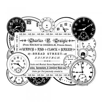 Crafty Individuals CI-279 - 'Clock Maker' Art Rubber Stamp, 90mm x 70mm