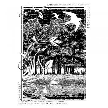 Crafty Individuals CI-288 - 'Swallows and Swirls' Art Rubber Stamp, 65mm x 95mm