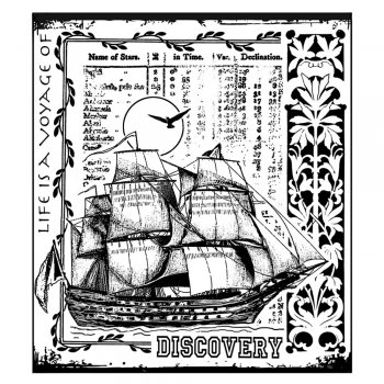 Crafty Individuals CI-295 - 'Voyage of Discovery' Art Rubber Stamp, 82mm x 92mm