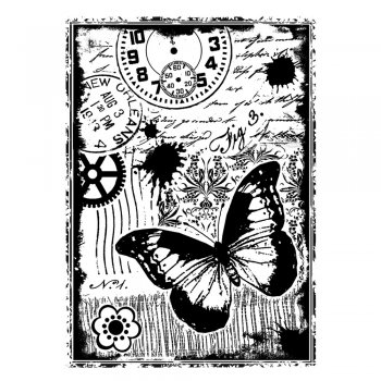 Crafty Individuals CI-296 - 'Steampunk Butterfly' Art Rubber Stamp, 65mm x 90mm
