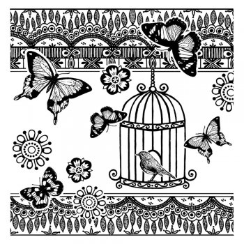 Crafty Individuals CI-301 - 'Bird and Butterflies' Art Rubber Stamp, 80mm x 81mm