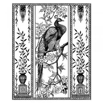 Crafty Individuals CI-310 - 'Elegant Peacock' Art Rubber Stamp, 80mm x 100mm