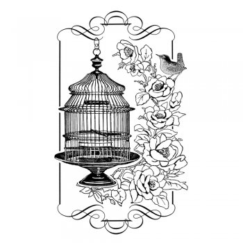Crafty Individuals CI-320 - 'Floral Birdcage' Art Rubber Stamp, 60mm x 95mm