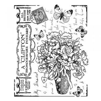 Crafty Individuals CI-337 - 'Butterfly Bouquet' Art Rubber Stamp, 70mm x 88mm