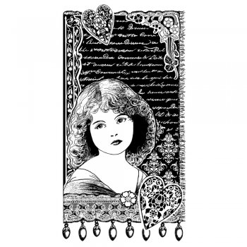 Crafty Individuals CI-338 - 'Young Girl Dreaming' Art Rubber Stamp, 60mm x 110mm