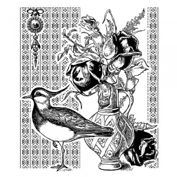 Crafty Individuals CI-345 - 'Seabird and Roses' Art Rubber Stamp, 75mm x 90mm