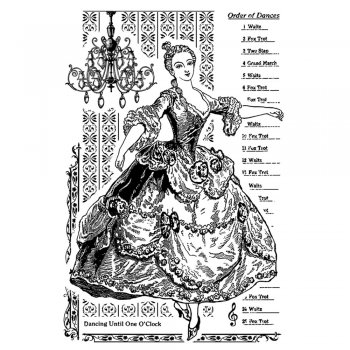 Crafty Individuals CI-346 - 'Dancing until 1 O'Clock' Art Rubber Stamp, 65mm x 100mm
