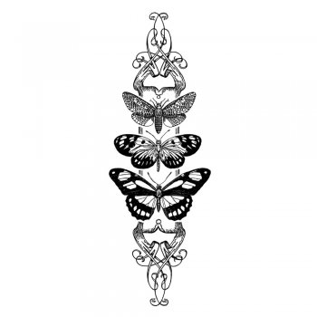 Crafty Individuals CI-347 - 'Butterfly Trio Panel' Art Rubber Stamp, 45mm x 130mm
