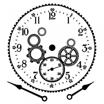 Crafty Individuals CI-353 - 'Cog Workings Clock Face' Art Rubber Stamp, 85mm x 90mm