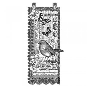 Crafty Individuals CI-357 - 'Springtime Robin' Art Rubber Stamp, 63mm x 140mm