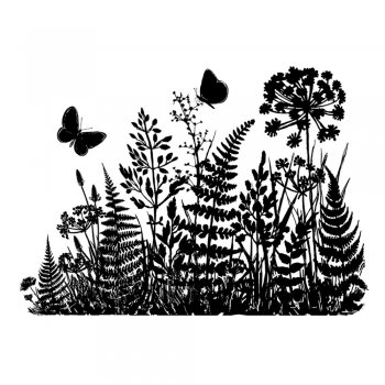 CI-365 - 'Ferns and Butterflies Silhouette' Art Rubber Stamp, 95mm x 68mm