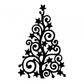 Crafty Individuals CI-368 - 'Starry Christmas Tree' Art Rubber Stamp, 60mm x 93mm